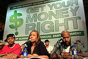 """Terrence J, Valiesha Butterfield and Bun B at the Hip-Hop Summit's """"Get Your Money Right"""" Financial Empowerment International Tour draws hip-hop stars and financial experts to teach young people about financial literacy held at The Johnson C. Smith University's Brayboy Gymnasium on April 26, 2008..For the past three years, hip-hop stars have come out around the country to give back to their communities. Sharing personal stories about the mistakes they've made with their own finances along the way, and emphasizing the difference between the bling fantasy of videos and the realities of life, has helped young people learn the importance of financial responsibility while they're still young. With the recent housing market crash in the United States affecting the economy, jobs, student loans and consumer confidence, young people are eager to receive sound financial advice on how to best manage their money and navigate through this volatile economic environment.."""