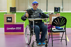 Franc Pinter of Slovenia after he competed during the Men's R5-10m Air Rifle Prone Cat. 1 shooting Qualifications during Day 4 of the Summer Paralympic Games London 2012 on September 1, 2012, in Royal Artillery Barracks, London, Great Britain. (Photo by Vid Ponikvar / Sportida.com)