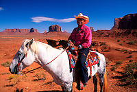Navajo Indian on horseback, Monument Valley, Utah/Arizona