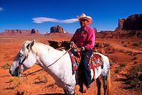 Navajo Indian on horseback, Monument Valley, Utah/Arizona
