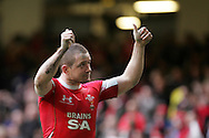 Wales try scorer Shane Williams celebrates after the match.  RBS Six nations championship 2010, Wales v Italy at the Millennium Stadium in Cardiff  on Sat 20th March 2010. pic by Andrew Orchard, Andrew Orchard sports photography,