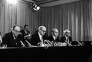EEC Leaders Meet At Dublin Castle.   (N4)..1979..29.11.1979..11.29.1979..29th November 1979..At Dublin Castle the leaders of the countries within the EEC held a summit conference to discuss issues which would affect the EEC over the forthcoming years..Speaking from the top table An Taoiseach,Mr Jack Lynch TD,is pictured at the conclusion of the summit in Dublin Castle,also in the photograph are Mr Roy Jenkins,President,EEC Commission, Mr Michael O'Kennedy, Minister for Foreign Affairs and Mr Dermot Nally, Deputy Secretary,Department of An Taoiseach.