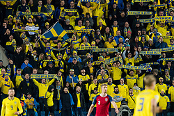 March 26, 2019 - Oslo, NORWAY - 190326 Supporters of Sweden during the UEFA Euro qualifier football match between Norway and Sweden on March 26, 2019 in Oslo..Photo: Jon Olav Nesvold / BILDBYRÃ…N / kod JE / 160435 (Credit Image: © Jon Olav Nesvold/Bildbyran via ZUMA Press)