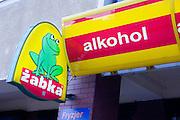 Sign for Zabka the little frog liqueur store sklep. Lutomierska Street Balucki District Lodz Central Poland