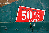 On sale sign, 50 percent off.