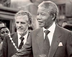 Nelson Mandela with Mayor of Cape Town Gordon Oliver in 1990.