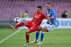 September 15, 2018 - Giovanni Simeone of ACF Fiorentina is challenged by Nikola Maksimovic of SSC Napoli during the Serie A match between Napoli and Fiorentina at Stadio San Paolo, Naples, Italy on 15 September 2018. Photo by Giuseppe Maffia. (Credit Image: © AFP7 via ZUMA Wire)