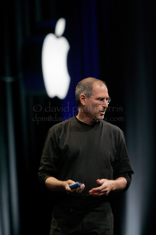 SAN FRANCISCO - JUNE 6:  Apple CEO Steve Jobs opens the Apple Worldwide Developers conference with his keynote speech on June 6, 2005 at the Moscone Center in San Francisco, California. In the presentation Jobs announced that Apple will be switching from IBM to Intel for it's processing chip. Photo by David Paul Morris