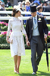 Kate, the Duchess of Cambridge (left) and Prince William, Duke of Cambridge (right) during day one of Royal Ascot at Ascot Racecourse, London