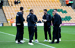 A general view of Derby County players as they inspect the pitch prior to the beginning of their Sky Bet Championship match at Carrow Road