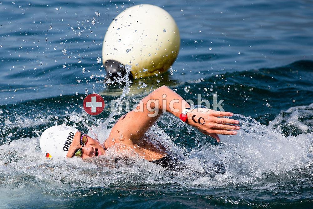 Thore Bermel of winning team Germany competes in the 3km Team Event during the LEN European Junior Open Water Swimming Championships held in the lake Maggiore (Lago Maggiore) at the Centro sportivo nazionale della gioventu in Tenero, Switzerland, Sunday, July 12, 2015. (Photo by Patrick B. Kraemer / MAGICPBK)