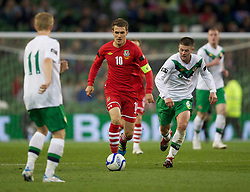 DUBLIN, REPUBLIC OF IRELAND - Friday, May 27, 2011: Wales' captain Aaron Ramsey in action against Northern Ireland during the Carling Nations Cup match at the Aviva Stadium (Lansdowne Road). (Photo by David Rawcliffe/Propaganda)