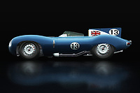 Jaguar Type D 1956<br /> Like its predecessor Jaguar C-Type, the Jaguar D-Type is a factory-built racing car. The Jaguar D-Type had a straight-XK engine design. At the beginning it was a 3.4 engine, later also a 3.8, together with the C-Type a revolutionary car in terms of aerodynamics and monocoque chassis. The D-Type was produced purely for motorsport, but after Jaguar stopped building the car for motorsport, the company offered the unfinished chassis as the public-road version of the JaguarXKSS - -<br /> BUY THIS PRINT AT<br /> <br /> FINE ART AMERICA<br /> ENGLISH<br /> https://janke.pixels.com/featured/jaguar-type-d-1956-lateral-view-jan-keteleer.html<br /> <br /> WADM / OH MY PRINTS<br /> DUTCH / FRENCH / GERMAN<br /> https://www.werkaandemuur.nl/nl/shopwerk/Jaguar-Type-D-1956-Zijaanzicht/738440/132?mediumId=11&size=75x50<br /> <br /> -