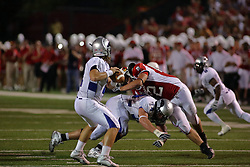 20 September 2008: Chaz Millard gives Bodie Reeder more time by taking out Mike Piton during Illinois State Redbirds home opener lose to the #20 ranked Eastern Illinois Panthers at Hancock Stadium on the campus of Illinois State University in Normal Illinois. Final score was 25-21.