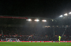 Heavy rain during the match at the bet365 Stadium