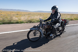 Rick Salisbury of Utah on his 1916 Excelsior during the Motorcycle Cannonball Race of the Century. Stage-13 ride from Williams, AZ to Lake Havasu CIty, AZ. USA. Friday September 23, 2016. Photography ©2016 Michael Lichter.