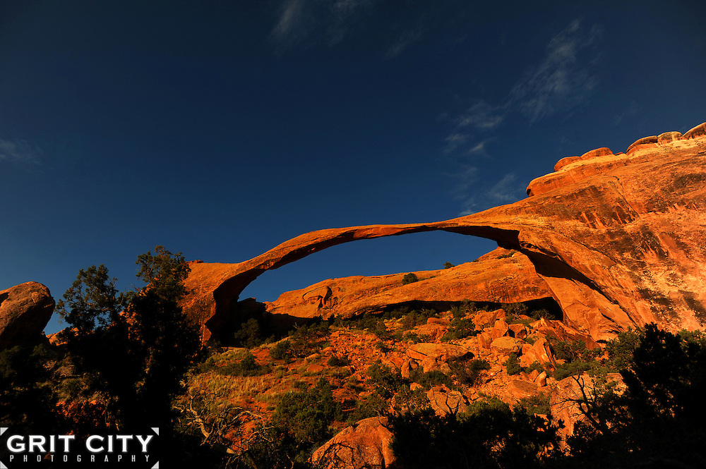 Sunrise at Landscape Arch in Arches National Park, Utah.