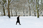 © Licensed to London News Pictures. 21/01/2013. Westminster, UK A man walks through the snow. Snow in the Royal Park, St James Park, in Central London today 21 January 2013. Photo credit : Stephen Simpson/LNP