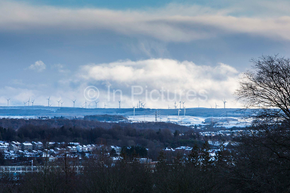 Whitelee Wind Farm, outside Glasgow, Scotland. The wind farm is the UK's largest and Europe's second largest onshore wind farm. Taken from Queens Park, Glasgow south side.