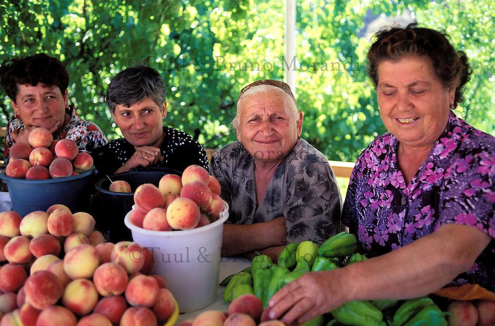 Armenie, Marchandes de fruit dans la campagne, Marché // Armenia, Market on the country side