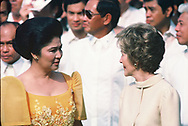 Imelda Marcos and First Lady Nancy Reagan at  the White House, 16 September 1982<br /><br />Photograph by Dennos Brack  bb77