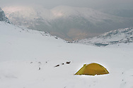 The Esk Hause wildcamp in daylight - with additional views to Sprinkling Tarn and Gable
