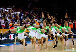 Cheerleaders Klaipeda University Dance Team (Zalgdance)  during basketball game between National basketball teams of France and Russia in 2nd Semifinal of FIBA Europe Eurobasket Lithuania 2011, on September 16, 2011, in Arena Zalgirio, Kaunas, Lithuania.  (Photo by Vid Ponikvar / Sportida)