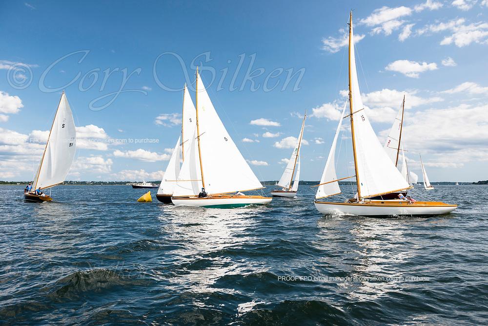 S Class sailing in the Panerai Herreshoff Classic Yacht Regatta.