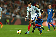 Dele Alli of England in action. FIFA World cup qualifying match, European group F, England v Slovakia at Wembley Stadium in London on Monday 4th September 2017.<br /> pic by Andrew Orchard, Andrew Orchard sports photography.