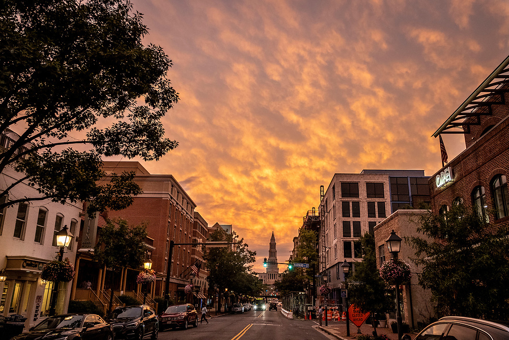 ARLINGTON, VA - The sun sets over Old Town on Thursday, Sept. 5, 2019 in Arlington. (Staff Photo by Jay Westcott)