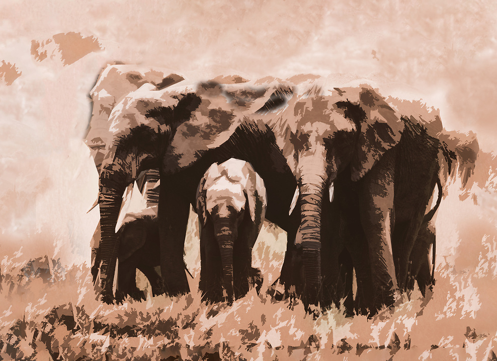 Elephant family processed for printing on large canvas