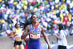 April 28, 2018 - Philadelphia, Pennsylvania, U.S - RAEVYN ROGERS of the USA crosses the finish line first during the USA vs The World Women Sprint Medley at the 124th running of the Penn Relays in Philadelphia Pennsylvania (Credit Image: © Ricky Fitchett via ZUMA Wire)