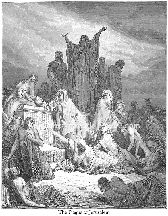 Plague of Jerusalem 1 Chronicles 21:16 From the book 'Bible Gallery' Illustrated by Gustave Dore with Memoir of Dore and Descriptive Letter-press by Talbot W. Chambers D.D. Published by Cassell & Company Limited in London and simultaneously by Mame in Tours, France in 1866