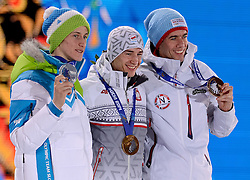 10-02-2014 ALGEMEEN: OLYMPIC GAMES MEDAILLE CEREMONIE: SOTSJI<br /> Ceremony Medal Plaza / Silver medal Peter Prevc SLO on Ski Jumping, gold for kamil Stoch POL and bronze Anders Bardal NOR<br /> ©2014-FotoHoogendoorn.nl