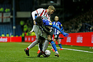Sheffield Wednesday midfielder Rolando Aarons (39) is fouled by Sheffield United defender Martin Cranie (28)  during the EFL Sky Bet Championship match between Sheffield Wednesday and Sheffield United at Hillsborough, Sheffield, England on 4 March 2019.