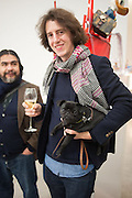 OLIVER DUREY WITH HIS PUG; BERRY, Editor of Wallpaper: Tony Chambers and architect Annabelle Selldorf host drinks to celebrate the collaboration between the architect and three of Savile Row's finest: Hardy Amies, Spencer hart and Richard James. Hauser and Wirth Gallery. ( Current show Isa Genzken. ) savile Row. London. 9 January 2012.