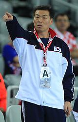 Head coach of Korea Taesup Choi during 21st Men's World Handball Championship 2009 Main round Group I match between National teams of Slovakia and Korea, on January 24, 2009, in Arena Zagreb, Zagreb, Croatia.  (Photo by Vid Ponikvar / Sportida)