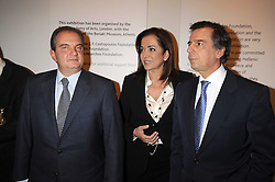 Left to right, The Prime Minister of Greece KOSTAS KARAMANLIS, the Greek Foreign Minister DORA BAKOYANNIS and the Greek Minister of Culture MIHALIS LIAPIS at the opening of the Royal Academy of Arts Byzantium 330-1453 exhibition held at the RA, Burlington House, Piccadilly, London on 21st October 2008.