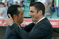 Huelva's coacher Jose Luis Oltra (L) and Betis coacher Julio Velazquez (D) just before starting the match between Real Betis and Recreativo de Huelva day 10 of the spanish Adelante League 2014-2015 014-2015 played at the Benito Villamarin stadium of Seville. (PHOTO: CARLOS BOUZA / BOUZA PRESS / ALTER PHOTOS)