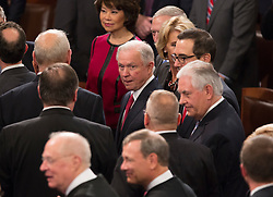 Members of United States President Donald J. Trump's Cabinet including Attorney General Jeff Sessions await the arrival of Trump for his address to a joint session of Congress on Capitol Hill in Washington, DC, USA, February 28, 2017. Photo by Chris Kleponis/CNP/ABACAPRESS.COM