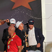 Ryder Cup 2016. Day Three. Rickie Fowler celebrates as he is sprayed with champagne after the United States victory in the Ryder Cup tournament at Hazeltine National Golf Club on October 02, 2016 in Chaska, Minnesota.  (Photo by Tim Clayton/Corbis via Getty Images)