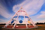 Saamis Tepee at sunset<br /> Medicine Hat<br /> Alberta<br /> Canada
