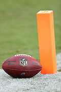 An NFL football lies on the grass next to an end zone pylon before the Carolina Panthers 2016 NFL preseason football game against the New England Patriots on Friday, Aug. 26, 2016 in Charlotte, N.C. The Patriots won the game 19-17. (©Paul Anthony Spinelli)