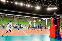 Players during qualifications match for FIVB Men's World Championship 2014 between National team Slovenia and Israel in pool B on May 24, 2013 in SRC Stozice, Ljubljana, Slovenia. (Photo By Urban Urbanc / Sportida)