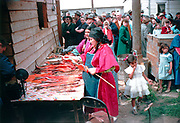 CS00378-01. Catherine Cushingway preparing fish at the Feast of the First Salmon, Celilo Indian village, April 24, 1955. Maggie Jim is behind her.