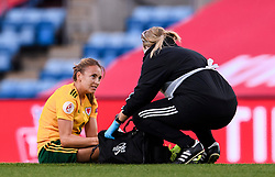 OSLO, NORWAY - Tuesday, September 22, 2020: Wales' Kayleigh Green is treated for an injury during the UEFA Women's Euro 2022 England Qualifying Round Group C match between Norway Women and Wales Women at the Ullevaal Stadion. Norway won 1-0. (Pic by Vegard Wivestad Grøtt/Propaganda)