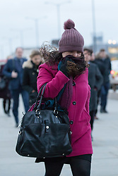 January 3, 2018 - London, UK. Commuters cross London Bridge during stormy and windy weather, as Storm Eleanor hits London this morning. (Credit Image: © Vickie Flores/London News Pictures via ZUMA Wire)
