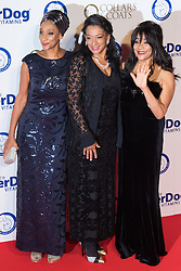 "Battersea, London, November 3rd 2016.  Celebrities and their dogs attend The Evolution at Battersea Park to attend The Battersea Dogs and Cats Home ""Collars and Coats Ball"". PICTURED: Sister Sledge"