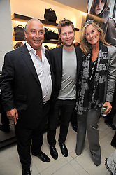 Left to right, SIR PHILIP GREEN, CHRISTOPHER BAILEY and  Angela Ahrendts Chief executive of Burberry at a reception hosted by Vogue and Burberry to celebrate the launch of Fashions Night Out - held at Burberry, 21-23 Bond Street, London on 10th September 2009.