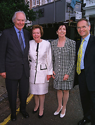 Left to right, SIR GEORGE & LADY MARTIN and LORD & LADY ARCHER, at a party in London on 30th June 1999.MTY 131
